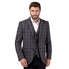 Hammond & Co. by Patrick Grant - Big and tall designer grey checked wool blend blazer
