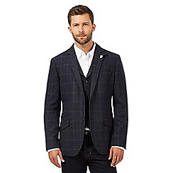 Hammond & Co. by Patrick Grant - Big and tall blue wool blend checked blazer