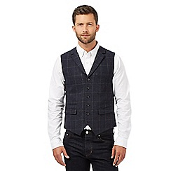Hammond & Co. by Patrick Grant - Blue wool blend checked waistcoat