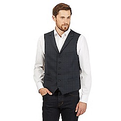 Hammond & Co. by Patrick Grant - Big and tall blue wool blend checked waistcoat