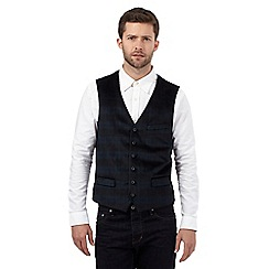 Hammond & Co. by Patrick Grant - Big and tall navy tartan velvet waistcoat