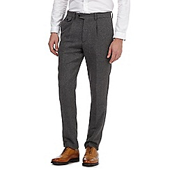 Hammond & Co. by Patrick Grant - Big and tall grey herringbone pleat front trousers