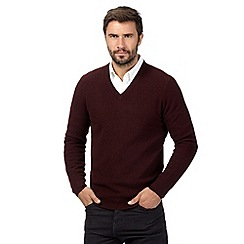 Hammond & Co. by Patrick Grant - Big and tall dark red wool blend textured v neck jumper
