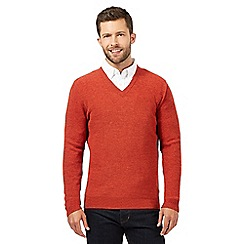 Hammond & Co. by Patrick Grant - Big and tall dark orange wool blend textured v neck jumper