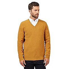 Hammond & Co. by Patrick Grant - Big and tall mustard wool blend textured v neck jumper