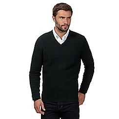 Hammond & Co. by Patrick Grant - Big and tall dark green wool blend textured v neck jumper
