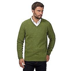 Hammond & Co. by Patrick Grant - Big and tall light green lambswool blend v neck jumper