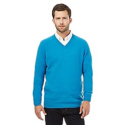 Hammond & Co. by Patrick Grant - Big and tall turquoise v-neck sweater