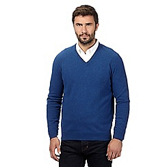 Hammond & Co. by Patrick Grant - Big and tall bright blue lambswool blend v neck jumper