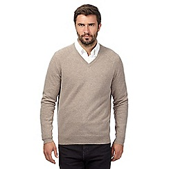 Hammond & Co. by Patrick Grant - Big and tall natural lambswool blend v neck jumper