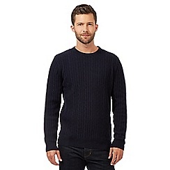 Hammond & Co. by Patrick Grant - Big and tall navy wool blend cable knit jumper