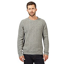 Hammond & Co. by Patrick Grant - Big and tall light grey wool blend cable knit jumper