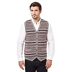 Hammond & Co. by Patrick Grant - Big and tall grey fairisle button tank waistcoat