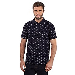 Hammond & Co. by Patrick Grant - Big and tall designer navy paisley print pique polo shirt