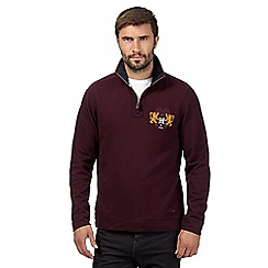 Hammond & Co. by Patrick Grant - Maroon funnel neck embroidered sweatshirt