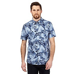Hammond & Co. by Patrick Grant - Blue floral print short sleeved shirt