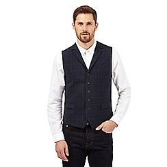 Hammond & Co. by Patrick Grant - Big and tall navy wool blend checked waistcoat