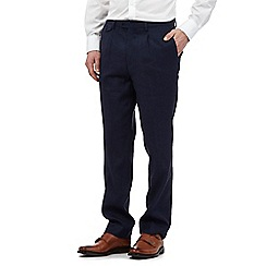 Hammond & Co. by Patrick Grant - Big and tall navy linen-blend trousers