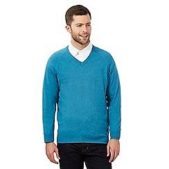 Hammond & Co. by Patrick Grant - Big and tall turquoise V neck jumper