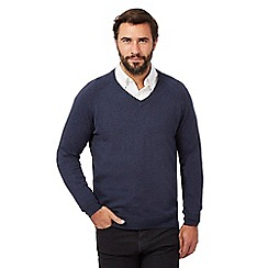 Hammond & Co. by Patrick Grant - Big and tall navy V neck jumper
