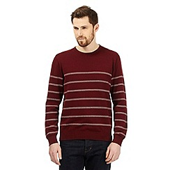 Hammond & Co. by Patrick Grant - Big and tall dark red striped crew neck jumper