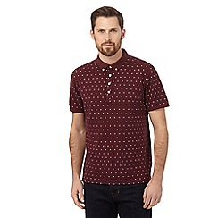 Hammond & Co. by Patrick Grant - Big and tall dark red geometric polo shirt