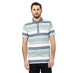 Hammond & Co. by Patrick Grant - Green block stripe print polo shirt
