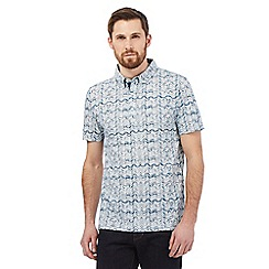 Hammond & Co. by Patrick Grant - Big and tall blue long sleeve wave print shirt