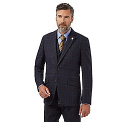 Hammond & Co. by Patrick Grant - Big and tall navy textured checked single breasted jacket
