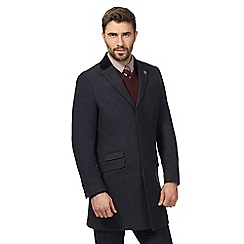 Hammond & Co. by Patrick Grant - Big and tall navy wool blend checked epsom coat