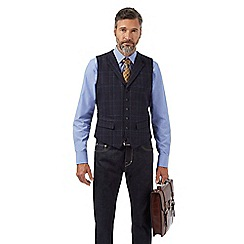 Hammond & Co. by Patrick Grant - Navy checked wool blend waistcoat