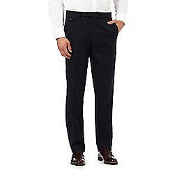 Hammond & Co. by Patrick Grant - Navy basketweave textured tailored trousers