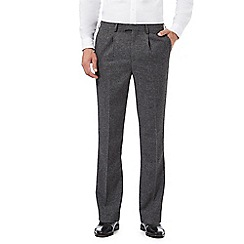 Hammond & Co. by Patrick Grant - Big and tall grey textured pleated trousers with wool