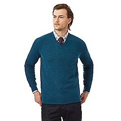 Hammond & Co. by Patrick Grant - Big and tall turquoise lambswool rich jumper