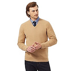 Hammond & Co. by Patrick Grant - Dark tan textured V neck jumper