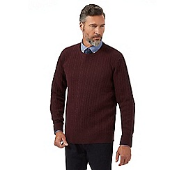 Hammond & Co. by Patrick Grant - Big and tall dark red lambswool rich cable knit jumper