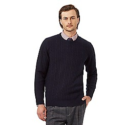 Hammond & Co. by Patrick Grant - Big and tall navy lambswool rich cable knit jumper