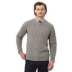 Hammond & Co. by Patrick Grant - Big and tall light grey lambswool rich cable knit jumper