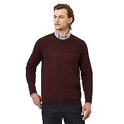 Hammond & Co. by Patrick Grant - Big and tall dark red rich merino wool moss stitch jumper