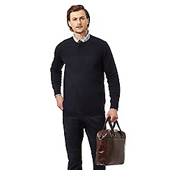 Hammond & Co. by Patrick Grant - Navy rich lambswool moss stitch jumper