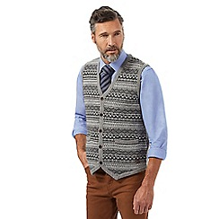 Hammond & Co. by Patrick Grant - Big and tall grey fair isle patterned rich lambswool button through tank top
