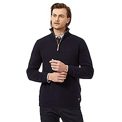 Hammond & Co. by Patrick Grant - Big and tall navy textured funnel neck sweater