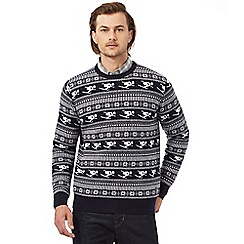 Hammond & Co. by Patrick Grant - Big and tall navy skier patterned rich lambswool jumper