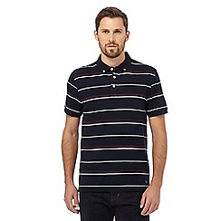 Hammond & Co. by Patrick Grant - Big and tall navy striped textured tailored fit polo shirt