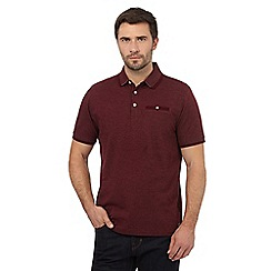 Hammond & Co. by Patrick Grant - Big and tall dark red textured dot polo shirt