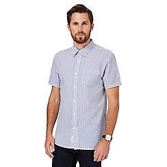 Hammond & Co. by Patrick Grant - Big and tall blue seersucker short sleeve shirt