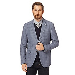 Hammond & Co. by Patrick Grant - Big and tall blue overcheck window pane tailored linen blend blazer