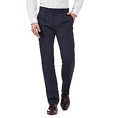 Hammond & Co. by Patrick Grant - Big and tall navy linen herringbone trousers