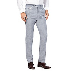 Hammond & Co. by Patrick Grant - Blue textured trousers with linen