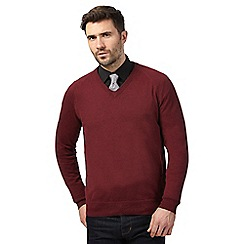 Hammond & Co. by Patrick Grant - Big and tall dark red v neck jumper with wool